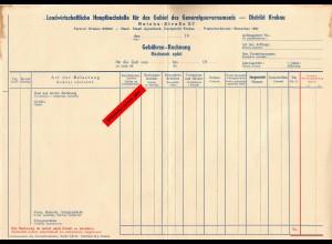 GG: Blanko Gebühren Rechnung: Landwirtschaftliche Hauptbuchstelle, Krakau