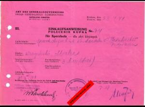 GG: Einkaufsanweisung für Sperrholz 1941, Mielec/Krakau