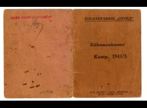 GG: Zuckerfabrik Opole: Rübenanbauer Ausweis: Lublin 1944/45