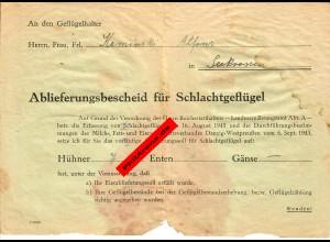Danzig/Seekrossen: Ablieferungsbescheid für Schlachtgeflügel