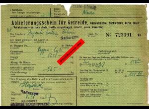 GG: Ablieferungsschein für Getreide/Hülsenfrüchte/Gerste, ... Nadarzyn