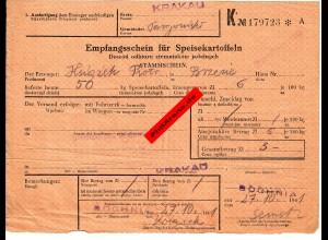 GG: Empfangsschein für Speisekartoffeln: Krakau/Bochnia 1941