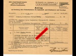 GG: Antrag auf Erteilung eines Bedarfscheins für Spennstoff- und Schuhwaren 1942