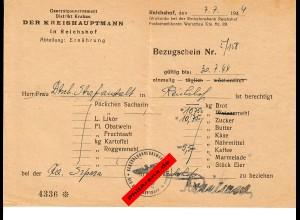 GG: Kreishauptmann Reichshof/Ernährung: Bezugsschein Mehl/Zucker 1944
