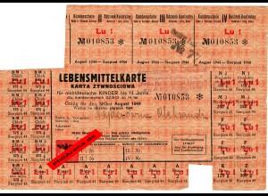 GG: Lebensmittelkarte für Nichtdeutsche Kinder bis 14 Jahre, August 1944, Lublin