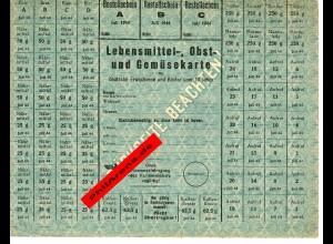 GG: Lebensmittel-, Obst- und Gemüsekarte für Deutsche über 10 Jahre, Juli 1944