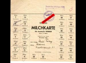 GG: Milchkarte Radom: für Deutsche Kinder ab 3 Jahren, November 1942