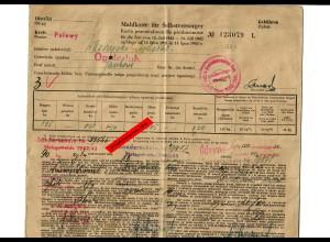 GG: Mahlkarte für Selbstversorger, Opole/Pulawy 1942/43