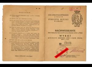 GG: Nachweiskarte über bezogene Spinnstoffwaren/Schuhe/Pelze: Lublin 1942