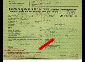 GG: Ablieferungsschein für Getreide/Hülsenfrüchte/Gerste, ... Radomysl 1943