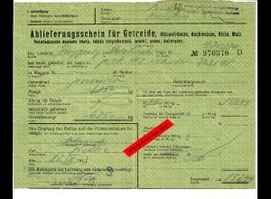 GG: Ablieferungsschein für Getreide/Hülsenfrüchte/Gerste, ... Siedlce 1943