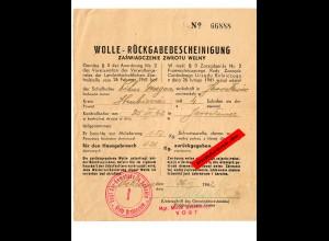 GG: Wolle Rückgabebescheinigung Hrubieszow: Schafhalter bringt 1,5kg behält 0,26