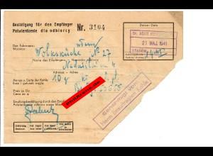 GG: Bestätigung für 10kg Kohle für Volksküche Krakau 1941