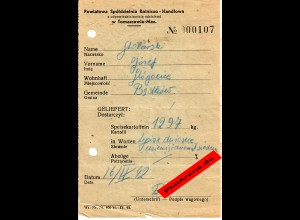 GG: Ablieferung von 1297kg Speisekartoffeln 1942, Tomaszow-Maz.