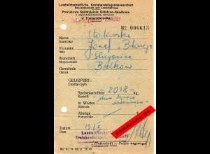 GG: Ablieferung von 2018 kg Speisekartoffeln 1942, Tomaszow-Maz.