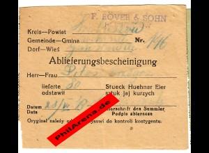GG: Ablieferungsbescheinigung für 80 Hühner Eier 1943, Hrubieszow