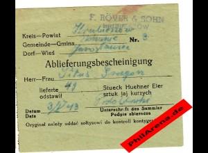 GG: Ablieferungsbescheinigung für 49 Hühner Eier 1943, Hrubieszow, Jaroslau