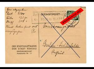 GG: Postkarte Krakau-Berlin 1942: Ernährungsamt: Lebensmittelkarten Info
