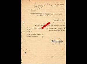 GG Krakau 1944 Anforderung von Fleisch-/Lebensmittel-/Fettkarten für Mitarbeiter