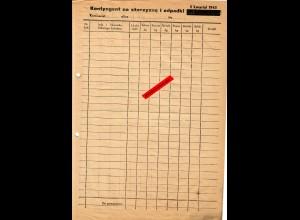 GG: Formular zur Kontingentablieferung 1943