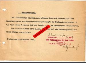 GG: Bescheinigung Krakau 1943: Kein Vermögen, braucht Lebensmittelzusatzkarte