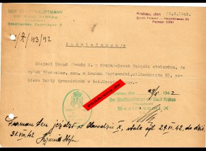 GG: Bescheinigung: Lebensmittelzusatzkarte Krakau 1942