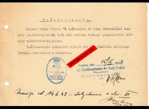 GG: Bescheinigung: Lebensmittelzusatzkarte Krakau November 1942