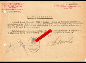 GG: Bescheinigung: Lebensmittelzusatzkarte Krakau Juli 1942