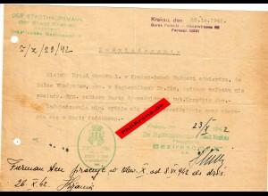 GG: Bescheinigung: Lebensmittelzusatzkarte Krakau Oktober 1942