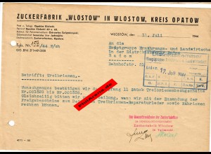 GG: Zuckerfabrik Wlostow/Opatow nach Radom: Bestätigung Erhalt Treibriemen, 1944