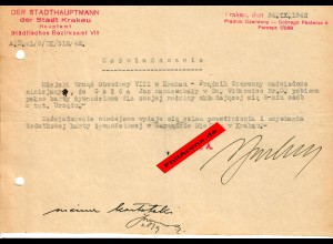 GG: Bescheinigung: Lebensmittelzusatzkarte Krakau, September 1942