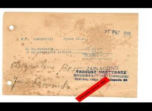 GG: Rechnung für 10 kg Zwieback und 5kg Brezeln, Krakau 1940