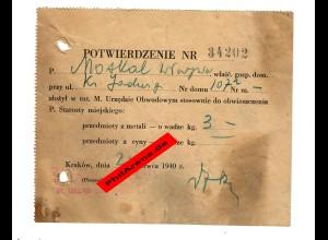GG: Bestätigung Abgabe von 3 kg Metall, Krakau 1940