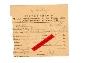 GG: Alt- und Abfallstofferfassung Lublin: Altpapier, Lumpen, Flaschen, Schrott..