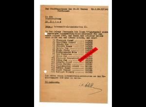 GG: Lebensmittelzusatzkarten II: Rücksendung da Arbeiter nicht da waren 1943