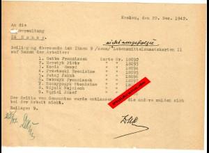 GG: Lebensmittelzusatzkarten II: 9x Rücksendung da Arbeiter nicht da waren 1942