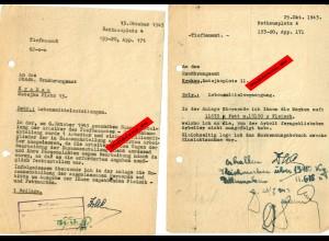 GG: Lebensmittelkarten II: 9x Rücksendung da Arbeiter nicht da waren 1942