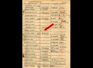 GG: Empfangsbestätigung Textilpunkte: Angestellte und Losziehung 1944