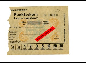 GG: Punktschein, Blanko: Nachkriegsverwendung aus Papiermangel