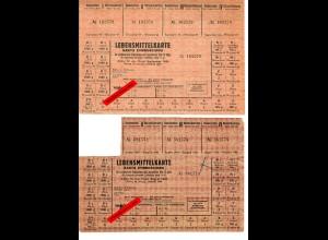 GG: 2x Lebensmittelkarte Stadt Warchau August/September 1944