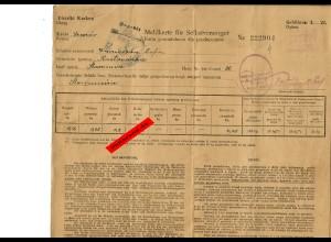 GG: Mahlkarte für Selbstversorger: Dampfmühle Staromiescie 1942, geprüft,