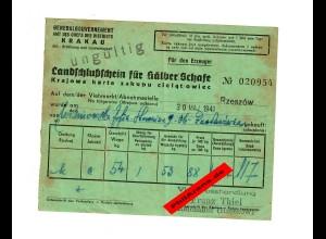 GG: Landschlußschein für Kälber/Schafe, Rzeszow/Reichshof 1941