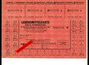 GG: Lebensmittelkarte Tarnow für Nichtdeutsche über 14 Jahre, Juli 1944