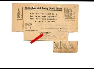 GG: Kartoffelbezugskarte/Lebensmittelkarten 1941/42/44: Lemberg, Distr. Galizien