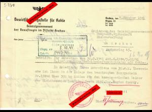 GG: Bewirtschaftungsstelle für Kohle, Krakau 1941: Bezugschein für 500kg Kohle