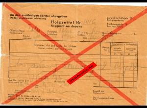 GG: Holzzettel für den Förster 1943