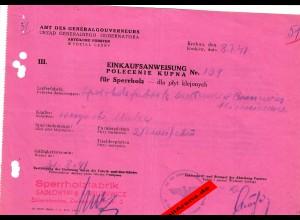 GG: Einkaufsanweisung für Sperrholz 1941, Skierniewice/Krakau