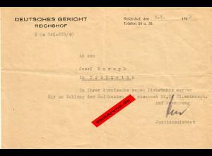 GG: Deutsches Gericht Reichshof nach Trzcinica: Strafsache wegen Diebstahls 1942