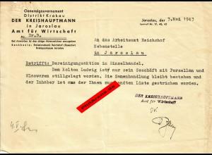 GG: Jaroslau 1943: Bereinigungsaktion im Handel: Stilllegung von Geschäften