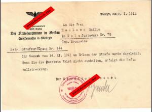 GG: Androhung Haftvollstreckung für Frau in Wola/Bronowice/Wielizka 1942